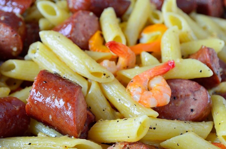 Instant Pot Sausage Pasta Recipes a Close Up of Pasta with Sausage and Shrimp
