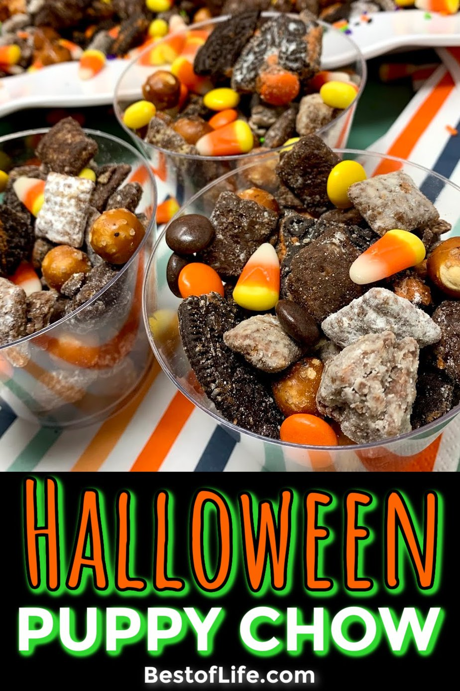 Make this Halloween puppy chow recipe for a fun and festive Halloween party recipe that both kids and adults will enjoy! Halloween Party Recipes | Halloween Snack Recipes | Recipes for Halloween | Snack Recipes for Fall | Fall Treat Recipes | Halloween Puppy Chow Chex Mix Recipe | Check Mix Snack Ideas #halloween #puppychow