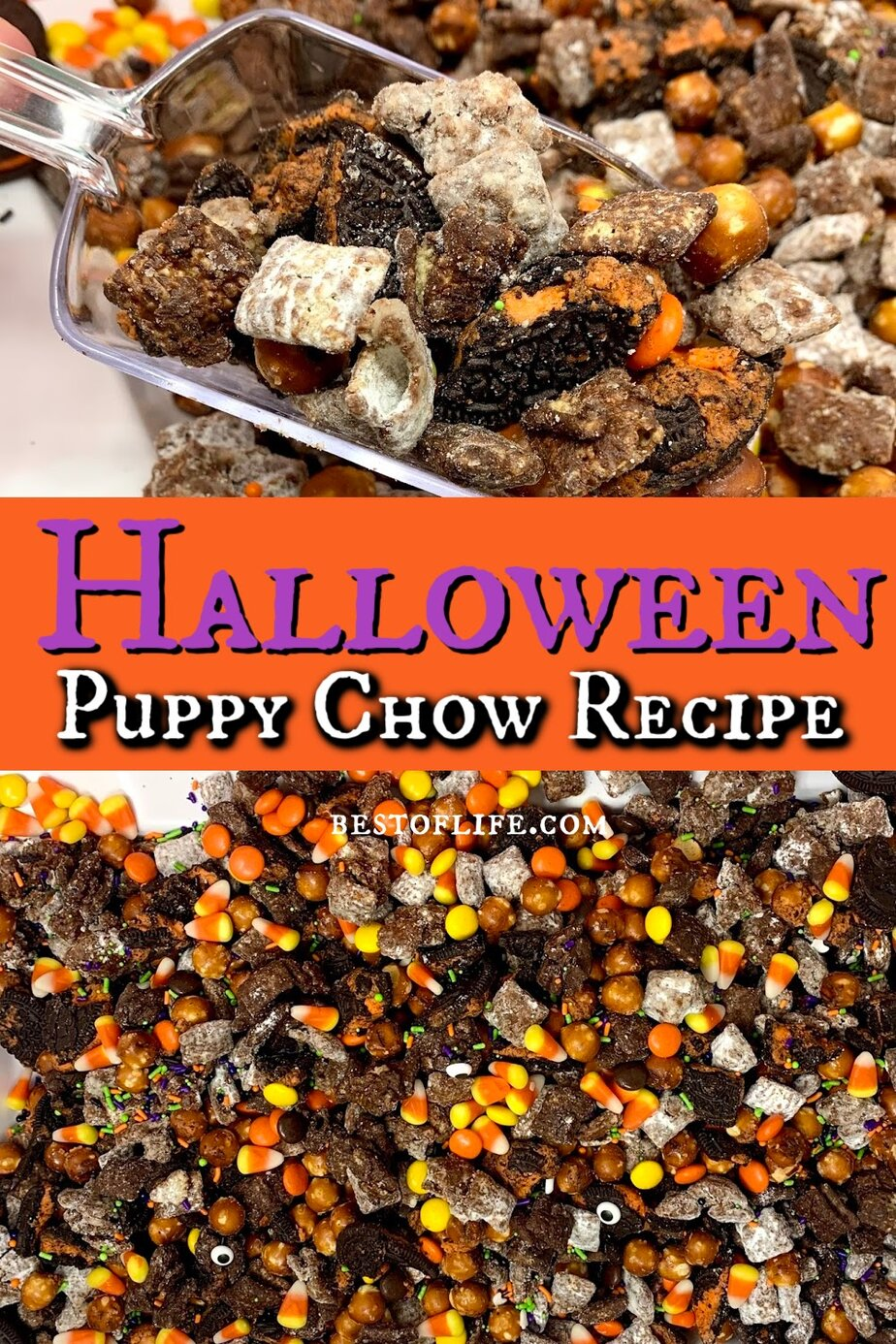 Make this Halloween puppy chow recipe for a fun and festive Halloween party recipe that both kids and adults will enjoy! Halloween Party Recipes | Halloween Snack Recipes | Recipes for Halloween | Snack Recipes for Fall | Fall Treat Recipes | Halloween Puppy Chow Chex Mix Recipe | Check Mix Snack Ideas #halloween #puppychow via @thebestoflife