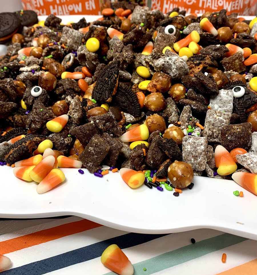 Halloween Puppy Chow Recipe Finished on a Platter