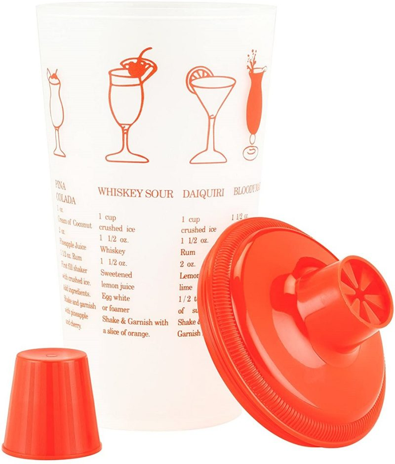 Having a recipe shaker or cocktail shaker with recipes printed on it makes bartending at home easier for parties and happy hour with friends. Cocktail Shaker | Happy Hour Recipes | Cocktail Making Tips | Cocktail Recipes | Cocktails for Crowd | Cocktails with Vodka | Cocktails with Gin | Shaker for Drinks | Bartending Tips | Gifts for Bartenders #cocktails #drinks