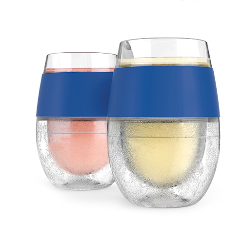 Two wine freeze cooling cups with blue grip hold