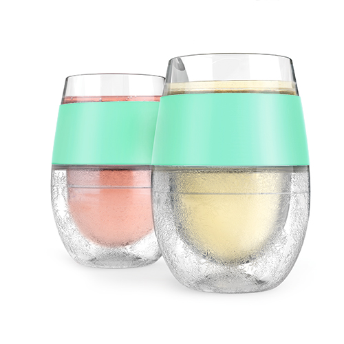 Two wine freeze cooling cups with mint grip hold