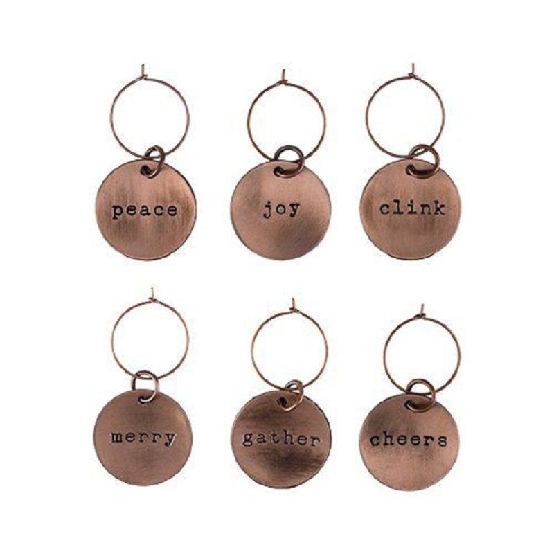 Brushed Copper Holiday Wine Charms