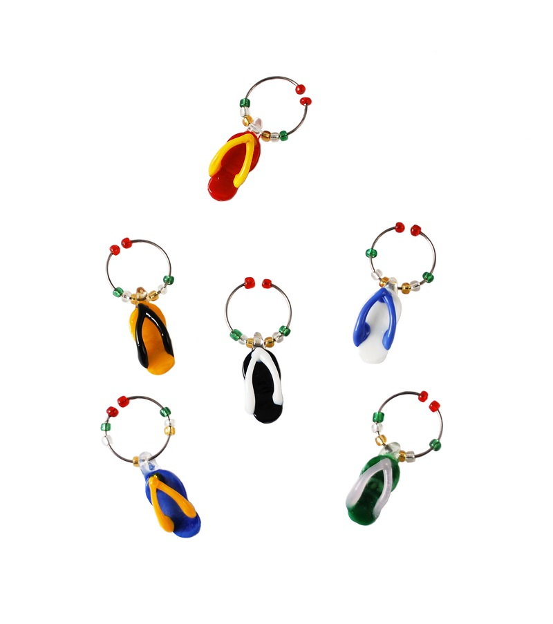 Glass Wine Charms Flip Flop Shaped Charms Against a White Background