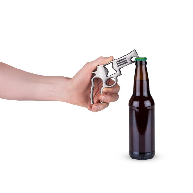 Pistol Cast Iron Bottle Opener Person Using Bottle Opener on a Bottle