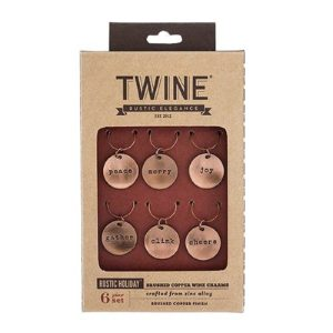 Tan Package of Brushed Copper Holiday Wine Charms
