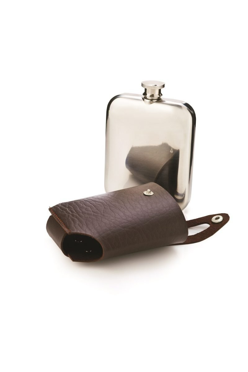 Stainless Steel Flask with Faux leather Case