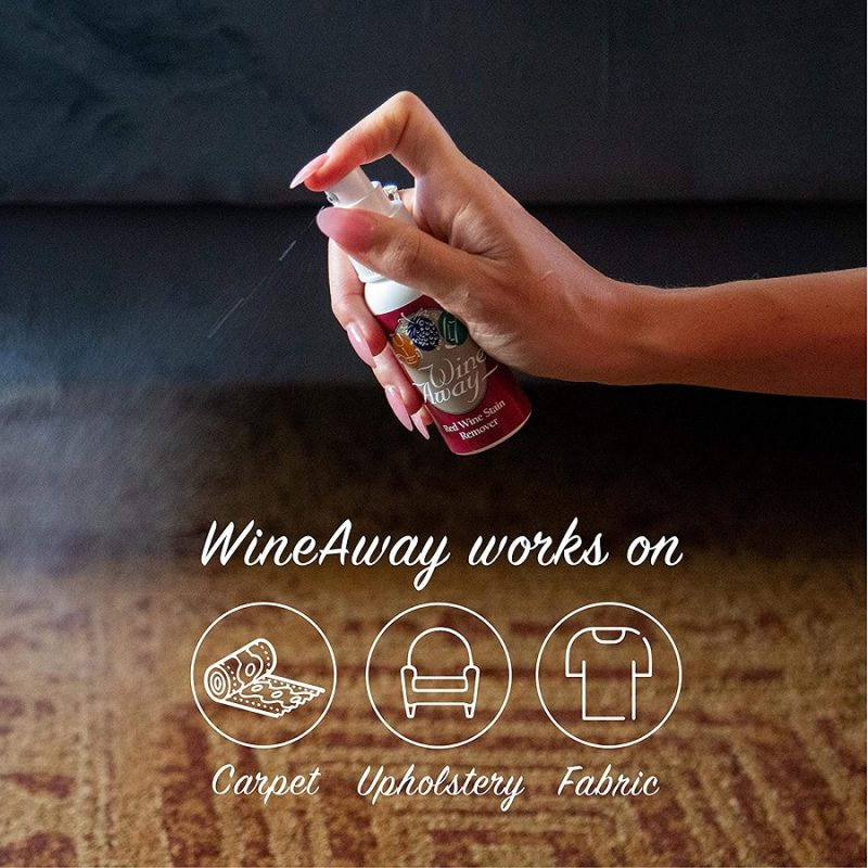 Wine Away Stain Remover Being Sprayed on Carpet