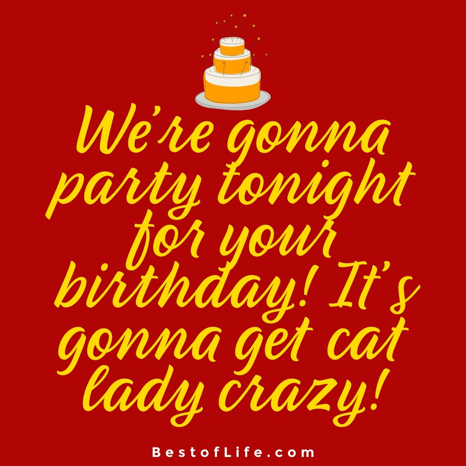 Cat Quotes for Birthdays We're gonna party tonight for your birthday! It's gonna get cat lady crazy!