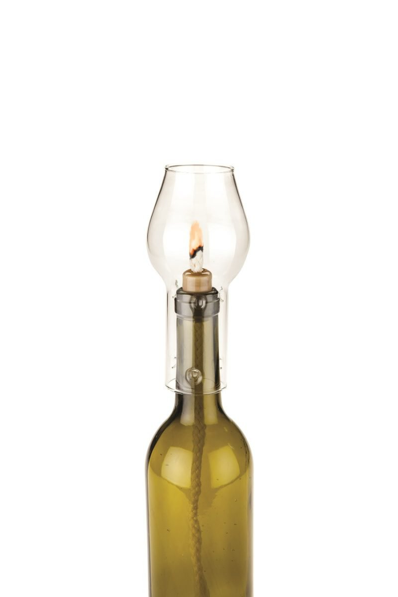 Glass Hurricane Bottle Lamp with Flame