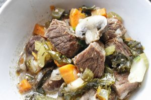 Whole30 Instant Pot Beef Stew Recipe Overhead View of a Bowl of Stew