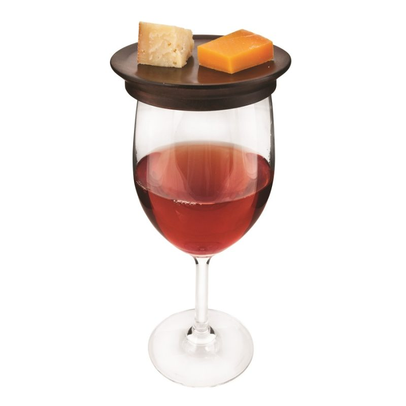 Wine Glass Topper Appetizer Plates on a Glass of Red Wine