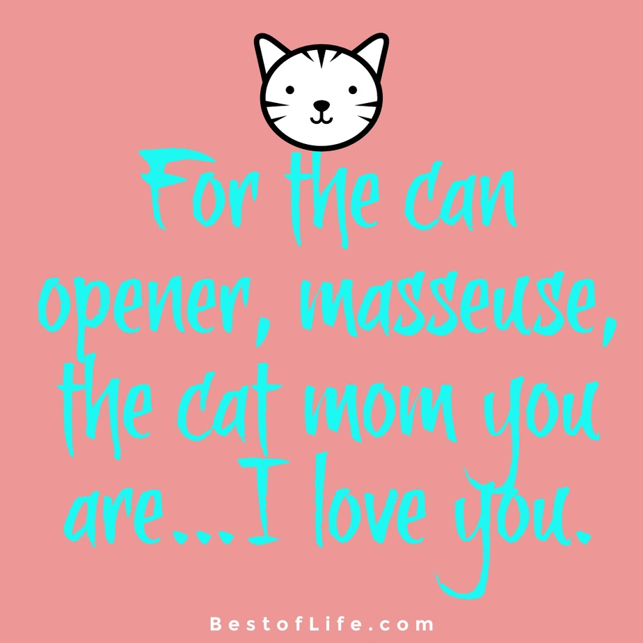 Cat Quotes for Mother's Day For the can opener, masseuse, the cat mom you are…I love you.