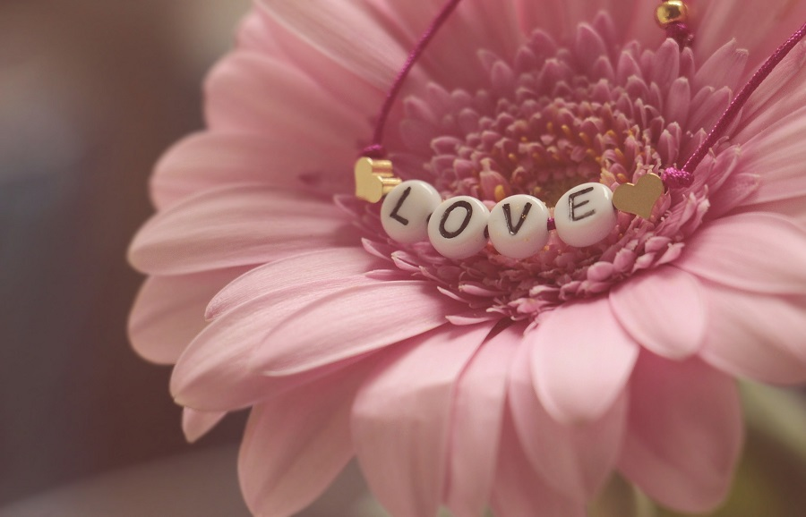 DIY Valentine's Day Decorations Flower with a Necklace on it That Says Love