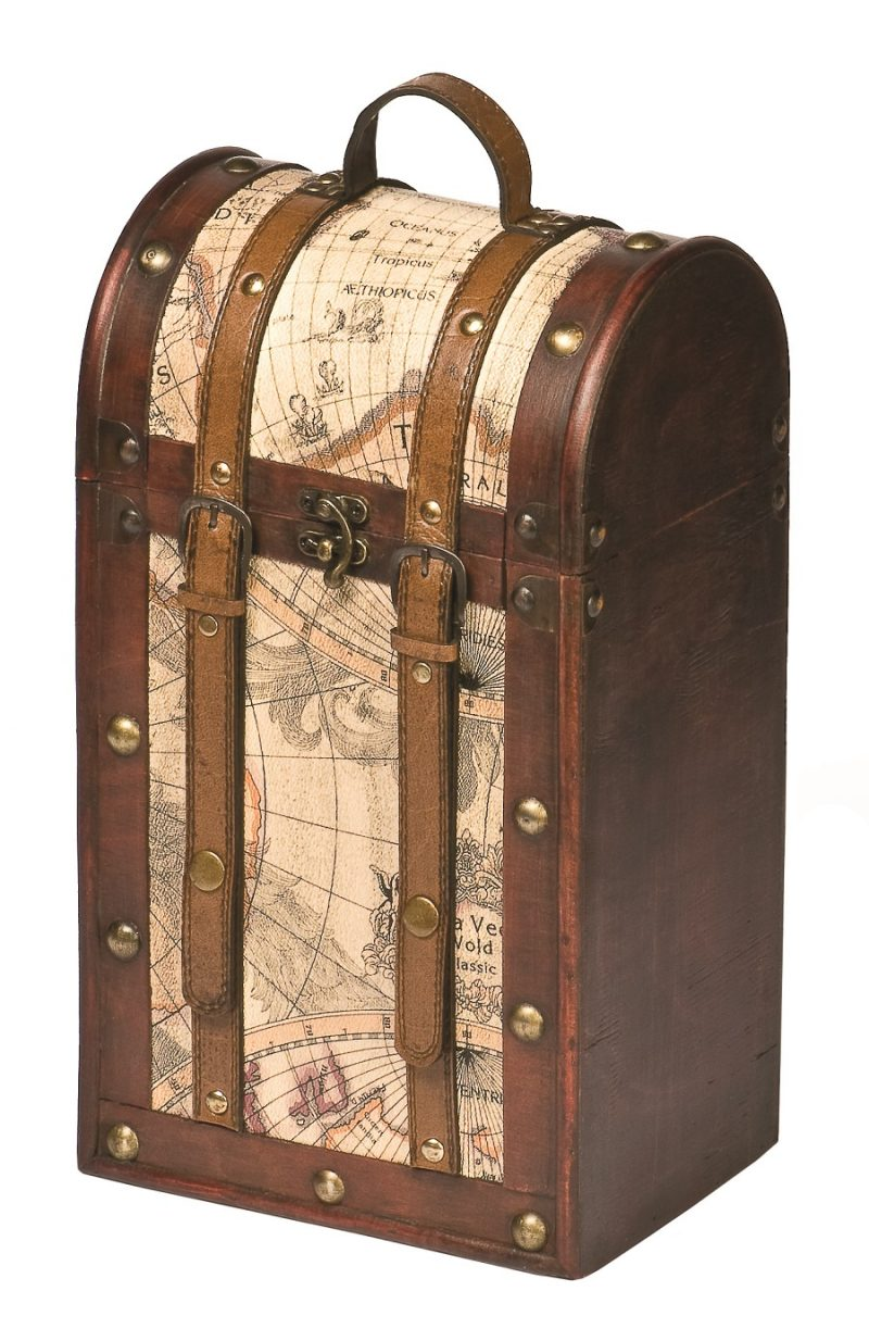 Old World Wooden Wine Box Close Up of Wine Box