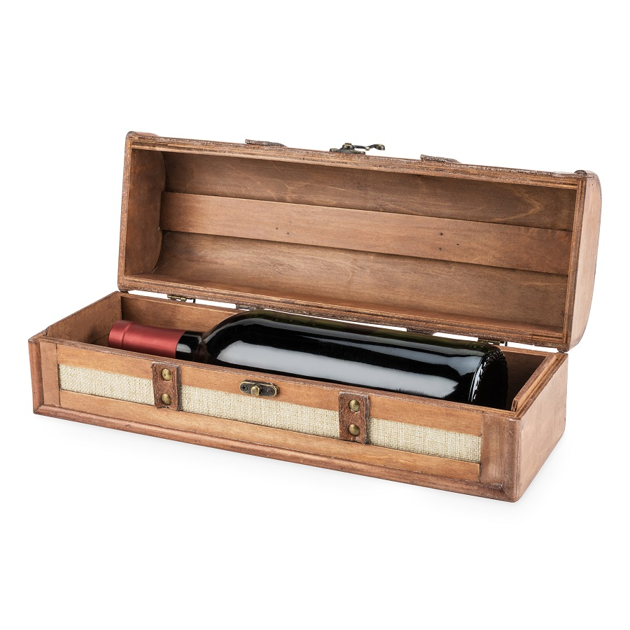 Store and gift your wine in style with a vintage striped trunk wine box designed to fit your favorite bottle of wine. Vintage Home Decor | Vintage Office Decor | DIY Vintage Ideas | Wine Box Vintage | Vintage Wine Tips | Wine Storage Ideas | How to Store Wine | Gifts for Whinos #wine #vintage via @thebestoflife