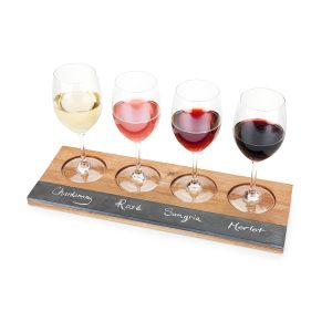 Wine Flight Board with Wine Glasses on it and Names of Wine Written on Slate