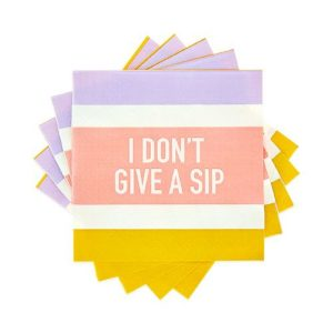 I Don't Give a Sip Cocktail Napkin Set Spiralized Against a White Background