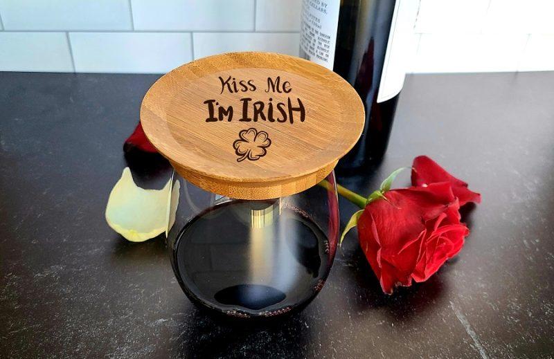 Kiss Me Im Irish Wine Glass Toppers