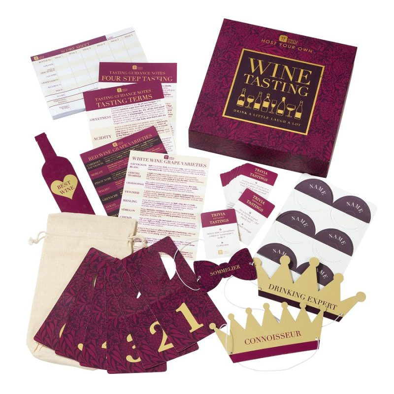 Laugh A Lot Wine Tasting Game Pieces Spread Out