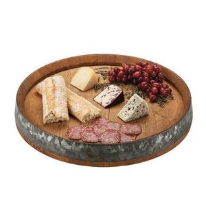Lazy Susan Tray Filled with Cheeses and Grapes
