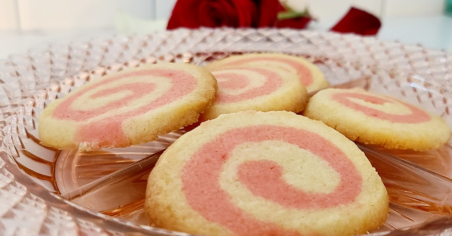 Pink Pinwheel Sugar Cookies Extreme Close Up of Cookies on a Plate
