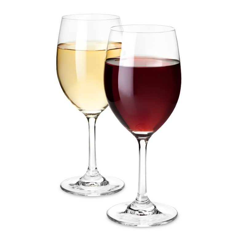 Shatterproof Plastic Wine Glass Set One with Red Wine and one with White Wine
