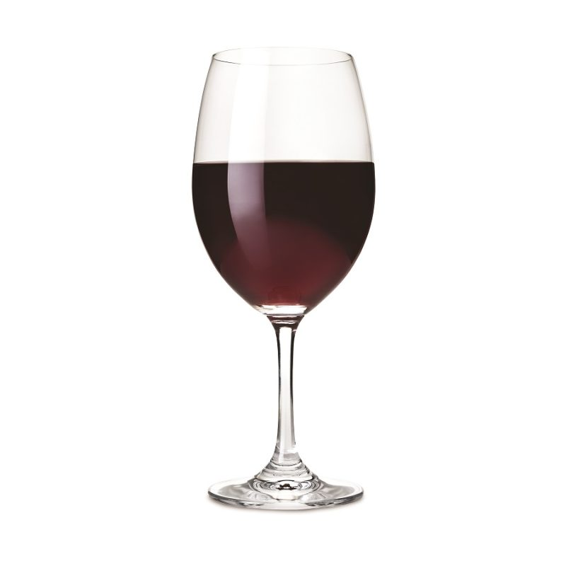 Shatterproof Plastic Wine Glass Filled with Red Wine