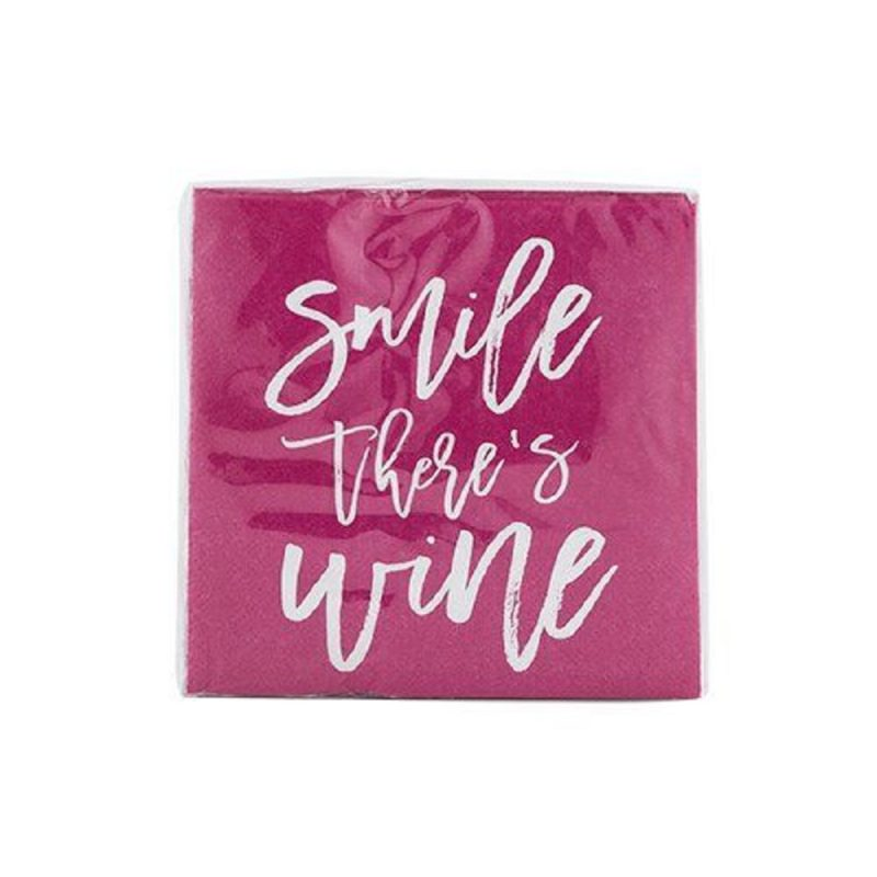 Smile There's Wine Napkin Napkins in Clear Plastic