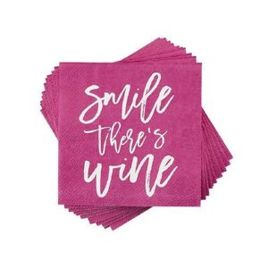 Smile There's Wine Napkin Pile of Napkins Displayed in a Spiral