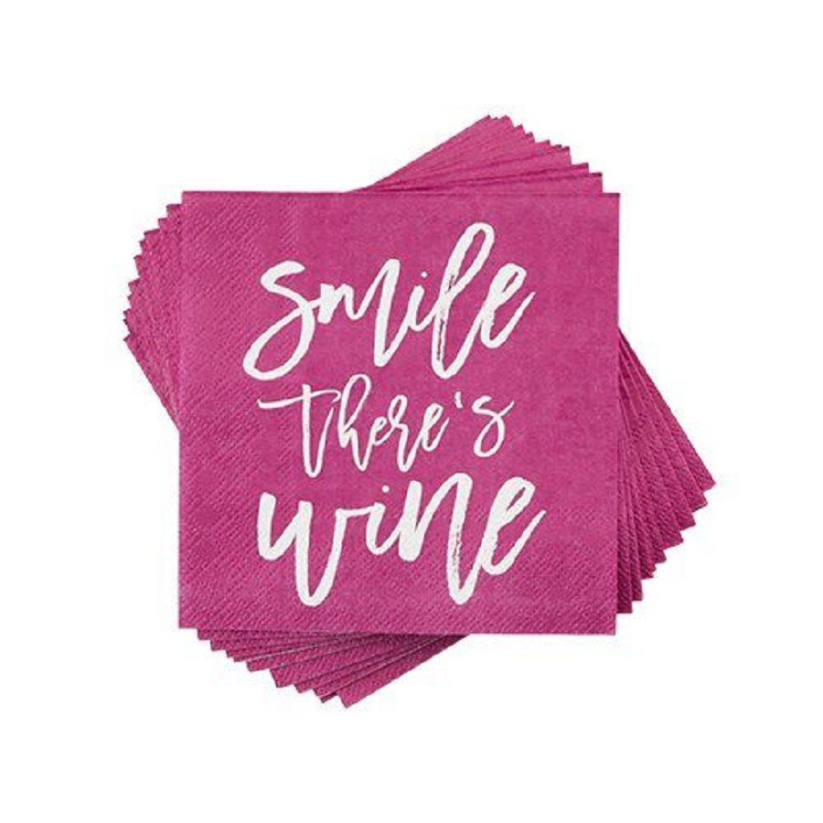 A smile there's wine napkin is the perfect reminder that wine makes us smile and that is why the perfect party is a wine party. Wine Party Theme | Tips for Hosting Parties | Decorations for Wine Tastings | Wine Tasting Supplies | Party Supplies for Adults #partyplanning #winedown via @thebestoflife