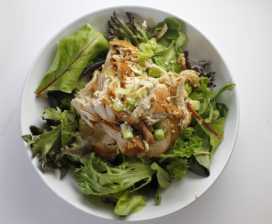 Whole30 Instant Pot Teriyaki Chicken Overhead View of Chicken on Salad