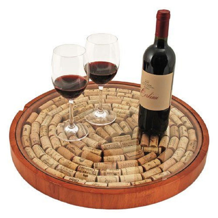 Fill this lazy Susan with corks and memories from the wine you have enjoyed with family and friends turning trash into fun decor. Wine Cork Ideas | Wine Cork DIY | Cork Craft Ideas | Home Decor for Wine Lovers | Unique Gifts for Wine Lovers | Gifts for Her | Gifts for Him #homedecor #winedown via @thebestoflife