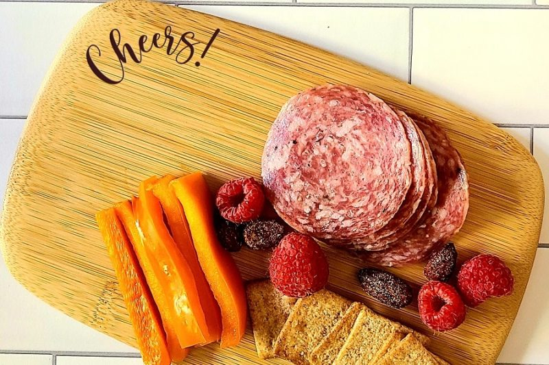 Close Up of a Personalized Mini Charcuterie Board With Meats and Fruit