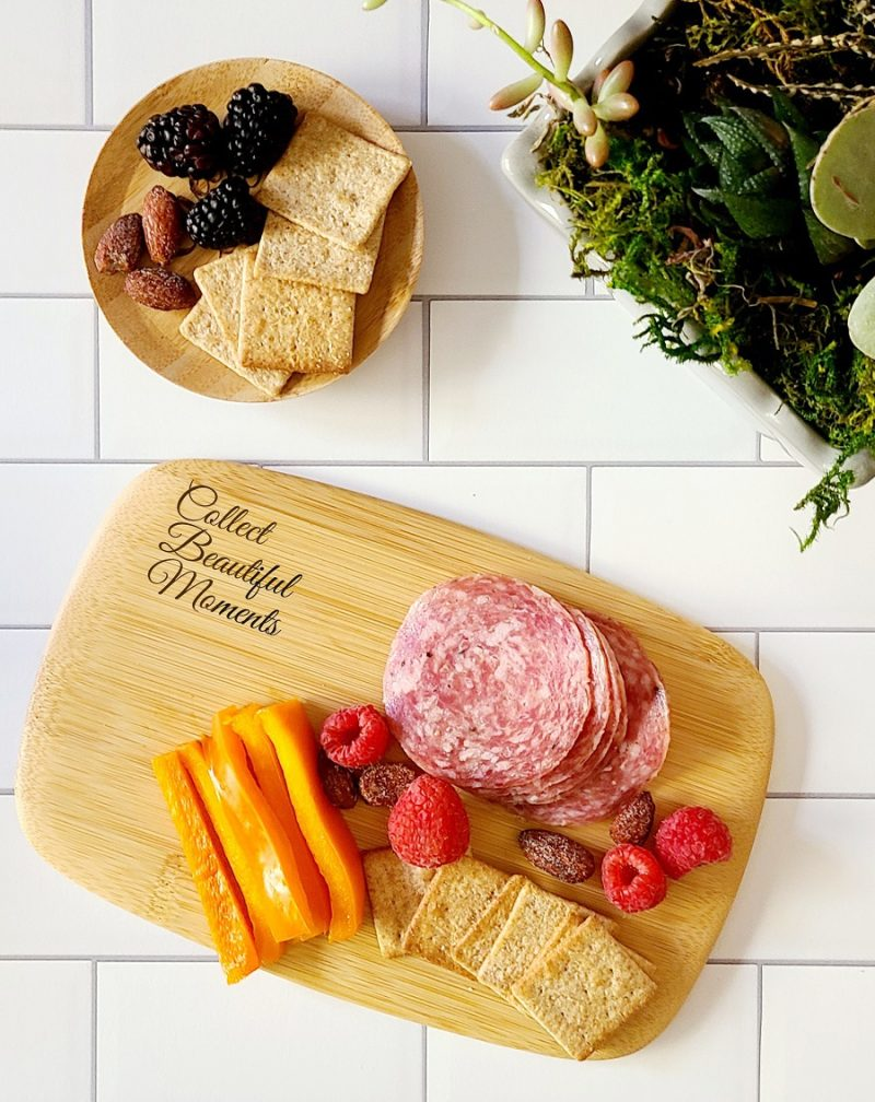 Personalized Mini Charcuterie Board Overhead View of a Cheese Board Next to a Glass of Wine with a Wine Topper