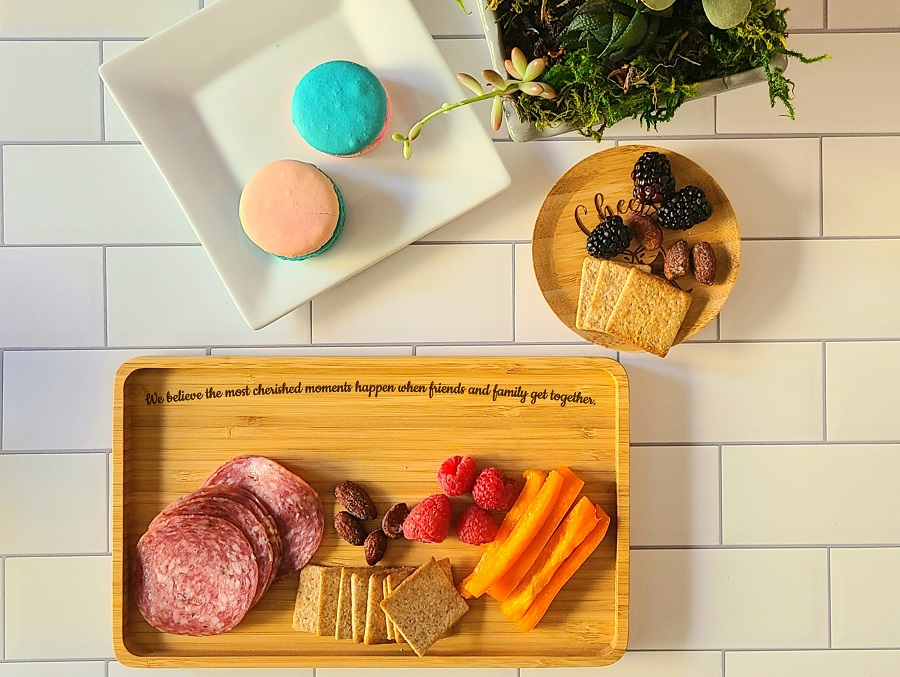 Entertain in style with this engraved small serving tray! This bamboo serving tray is great for serving up tea and cookies, appetizers, desserts, crackers and more. Party Planning   Wine Tasting   Coffee Tray   Guest Room Decorations   Friendsgiving   Friendship quotes   Cheers Quotes   Wine Down Quotes via @thebestoflife