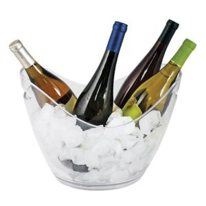 CHILL 4 Bottle Modern Ice Bucket Ice Bucket with 4 Bottles of Wine with Ice