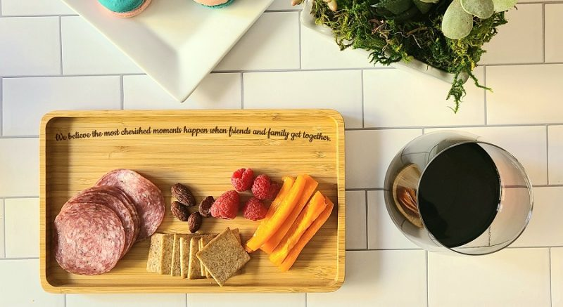 Overhead View Cherished Engraved Small Serving Tray