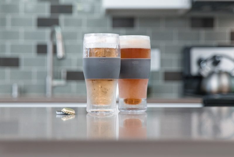 Two Freeze Cooling Pint Glasses on a Counter Top