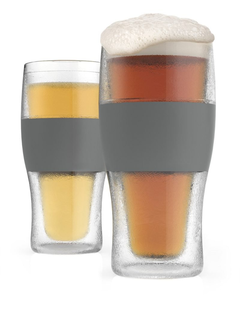 Two Freeze Cooling Pint Glasses Filled with Beer