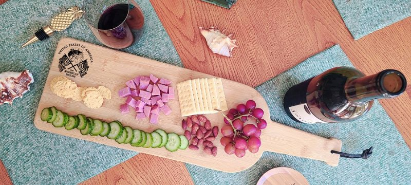 Engraved Wine Bottle Charcuterie Board Overhead View of the America Board