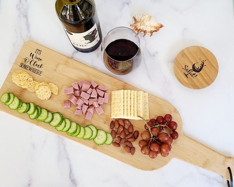 Engraved Wine Bottle Charcuterie Board It's Wine O Clock Somewhere Baord