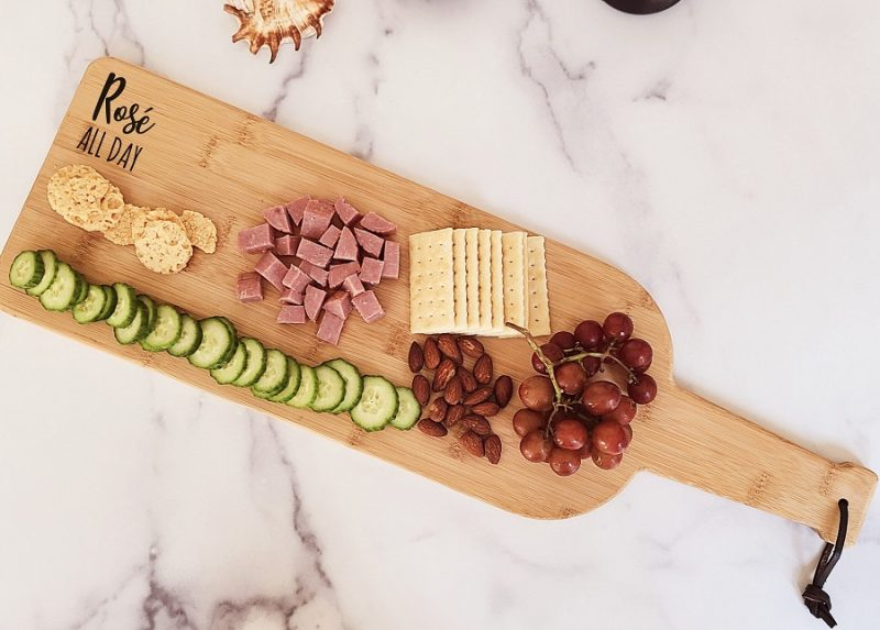 Engraved Wine Bottle Charcuterie Board Overhead View of the Rose Board