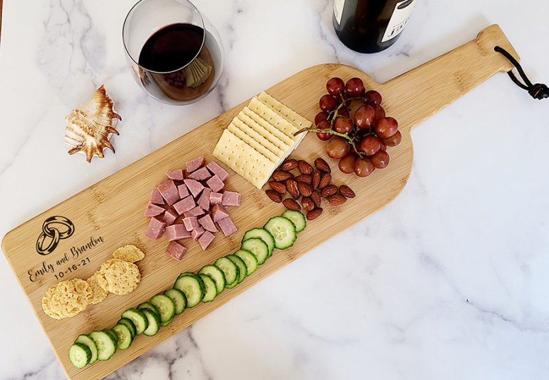 Overhead View of a Personalized Engraved Wedding Wine Bottle Charcuterie Board