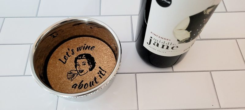 Stainless Steel Wine Bottle Coaster Let's Wine About It