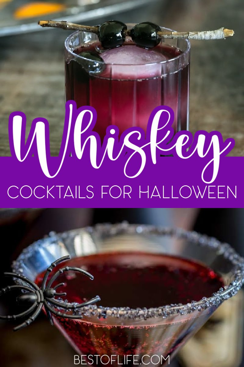 Make these Halloween cocktails with whiskey at your Halloween party or as you wait to hand out candy for a happy Halloween. Halloween Party Cocktails | Halloween Drink Recipes | Whiskey Recipes | Bloody Whiskey Cocktails | Whiskey Party Recipes | Halloween Cocktails | Halloween Cocktail Recipes | Drink Recipes for Adults | Spooky Drinks for Adults | Halloween Recipes with Alcohol #halloweendrinks #whiskeycocktails via @thebestoflife