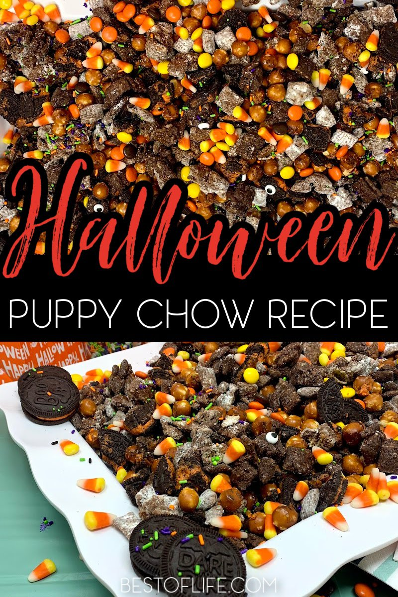 Make this Halloween puppy chow recipe for a fun and festive Halloween party recipe that both kids and adults will enjoy! Halloween Party Recipes   Halloween Snack Recipes   Recipes to Make with Kids   Snack Recipes for Fall   Fall Treat Recipes   Halloween Puppy Chow Chex Mix Recipe   Check Mix Snack Ideas   Halloween Party Ideas   Halloween Recipes for Kids   Fun Recipes for Halloween #halloweenrecipes #puppychow via @thebestoflife