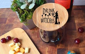 Halloween Themed Wine Glass Topper Appetizer Plates Drink Up Witches