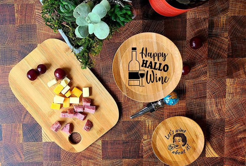 Halloween Themed Wine Glass Topper Appetizer Plates Happy HalloWine